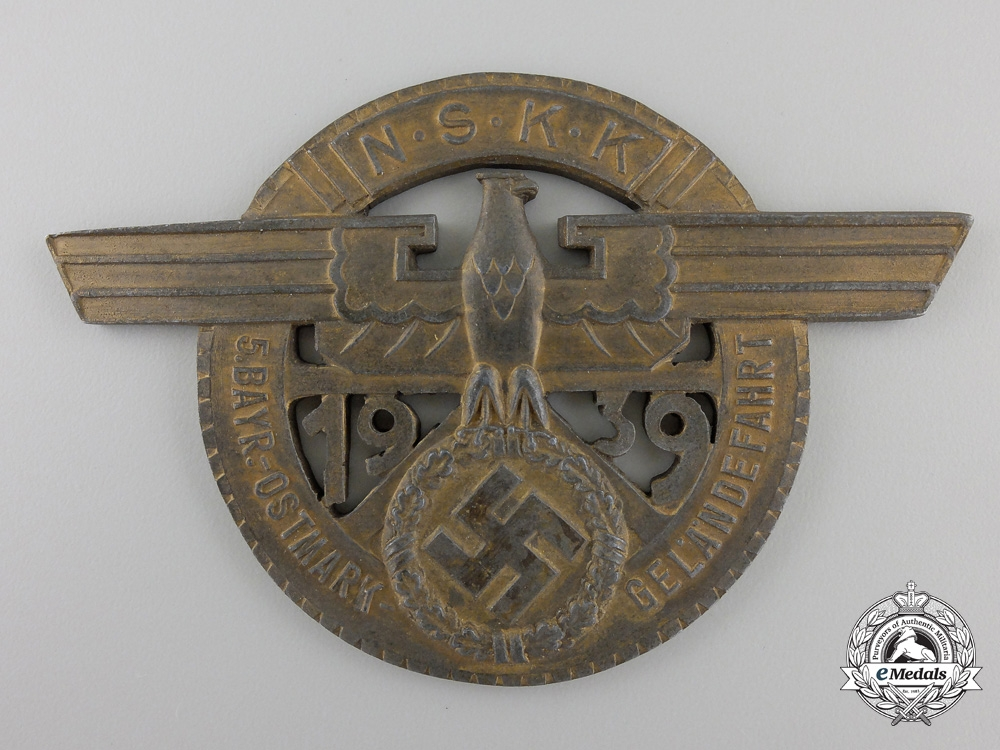eMedals-A 1939 N.S.K.K.Bayer to Ostmark Race Plaque