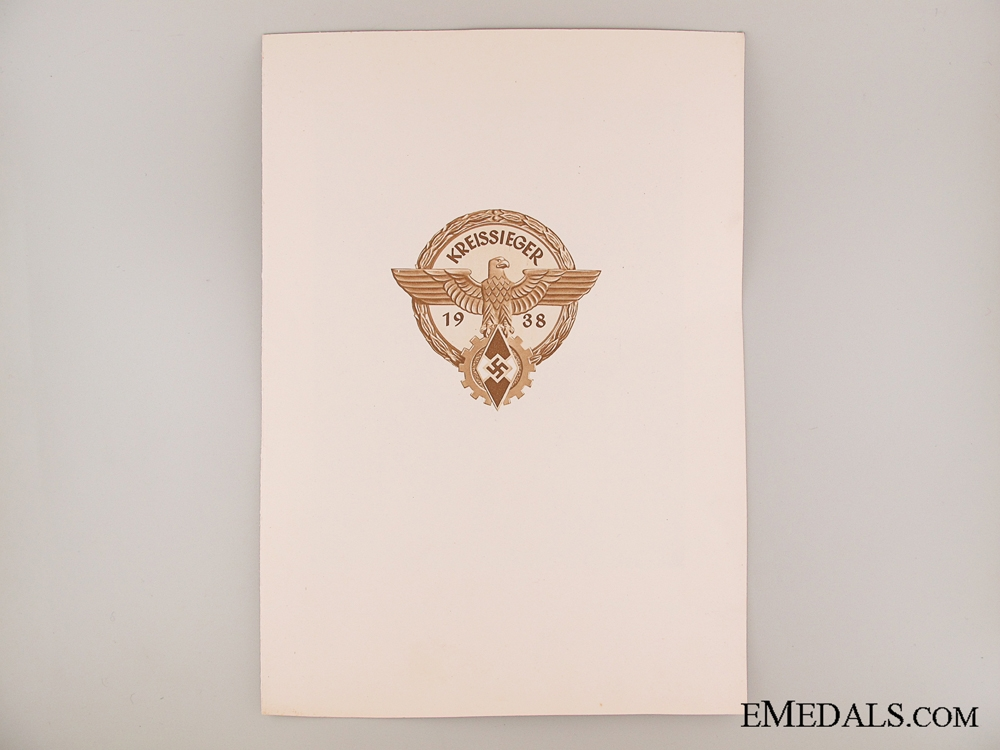 eMedals-HJ Victor's Badge Award Document 1938