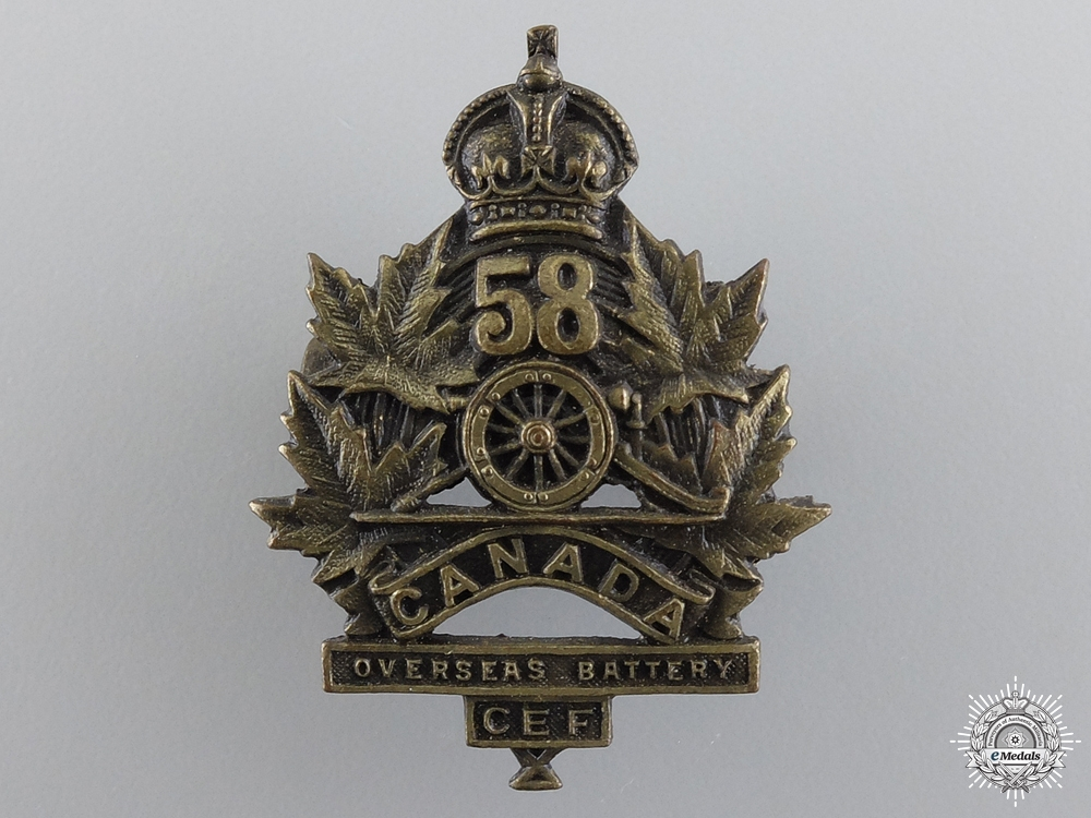 eMedals-WWI Canadian 58th Overseas Field Battery Collar Badge consign 17