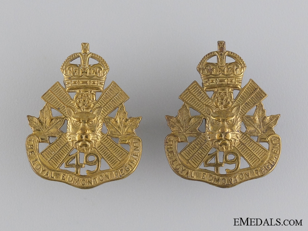 eMedals-WWII 49th Loyal Edmonton Regiment Collar Badge Pair