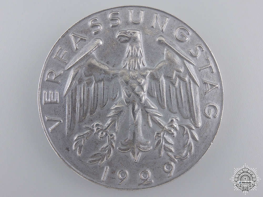 eMedals-A 1929 Weimar Republic Constitution Day Table Medal