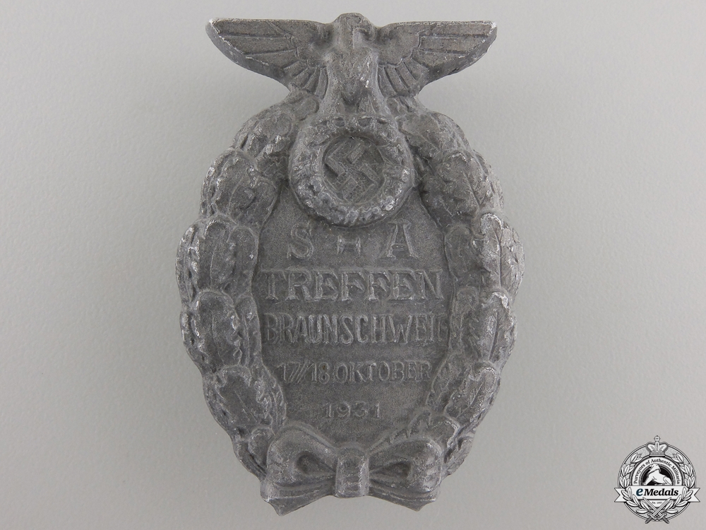 eMedals-A 1931 Badge of the SA-Meeting Brunswick; Second Version
