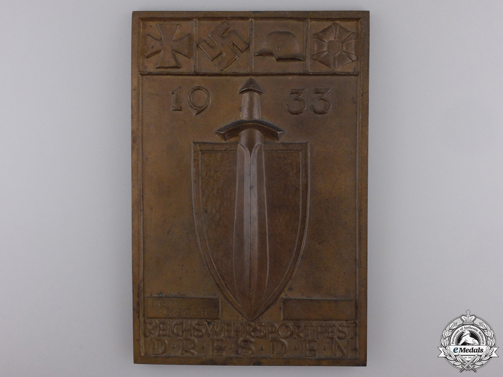eMedals-A 1933 Dresden Army Sports Festival Plaque