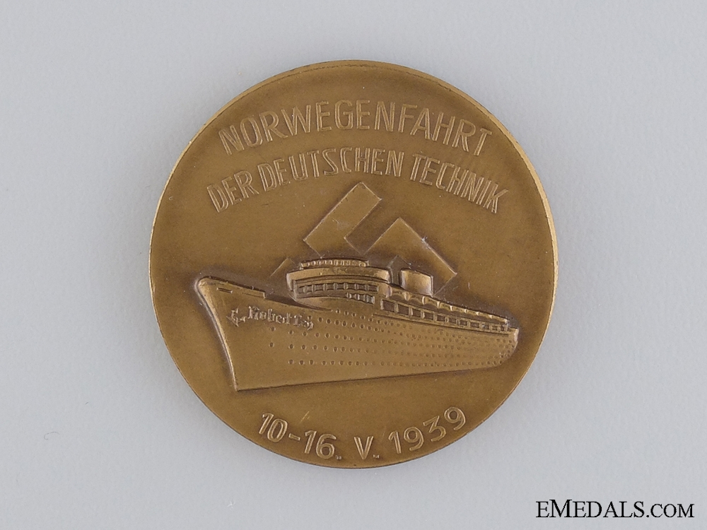 """eMedals-A 1939 Voyage of the KdF Cruise Ship """"Robert Ley"""" to Norway Medal"""
