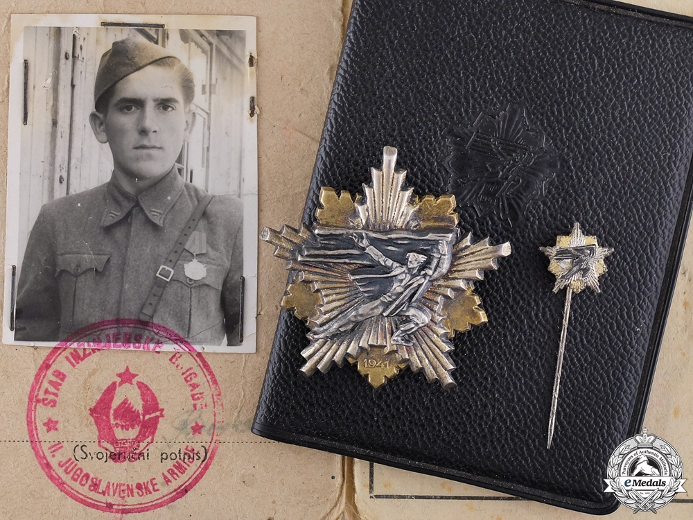 eMedals-A 1941 Yugoslavian Partisan's Decoration with Documents