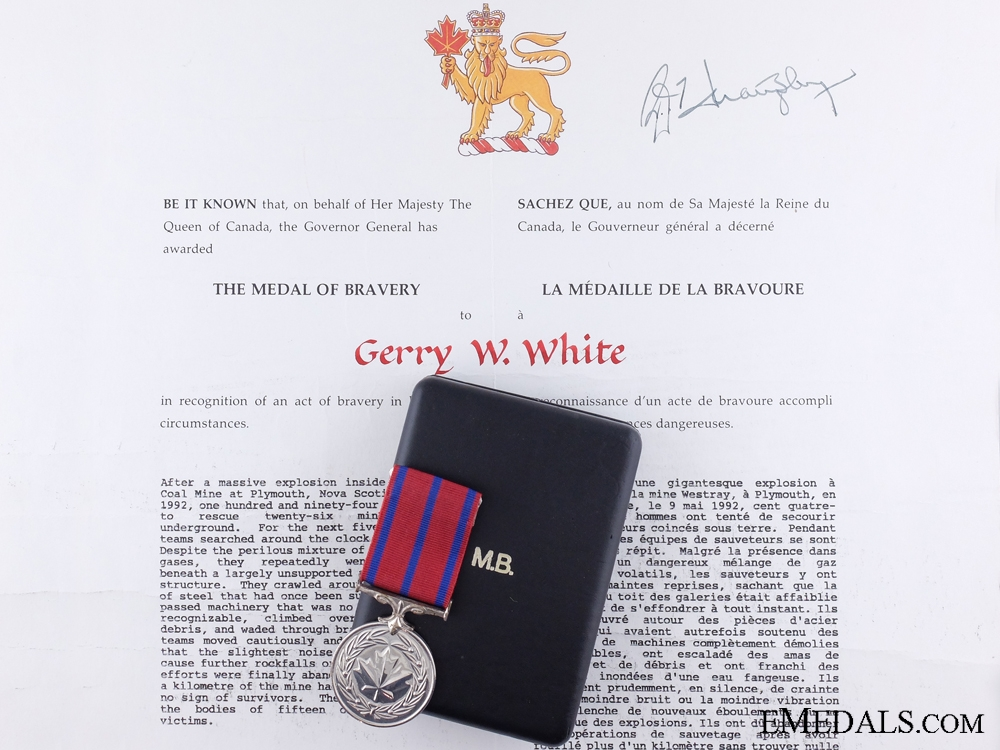 eMedals-A 1992 Canadian Medal of Bravery for the Westray Mine Disaster