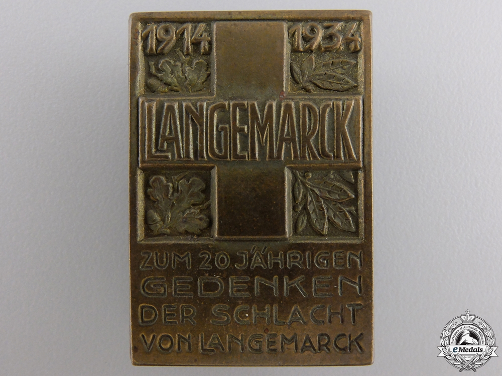 eMedals-A 20th Anniversary of the Battle of Langemarck Badge