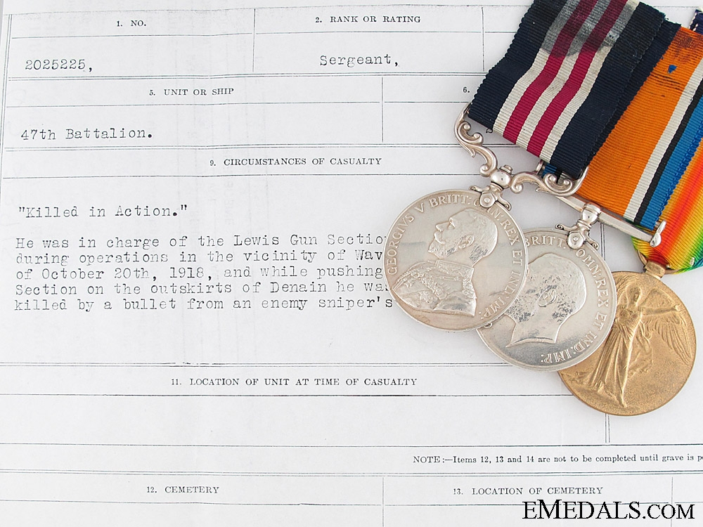 eMedals-A 47th Battalion Great War M.M. - Killed by Sniper