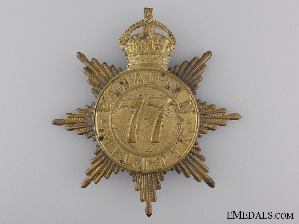 eMedals-A 1908 77th Canadian Infantry Helmet Plate; King's Crown