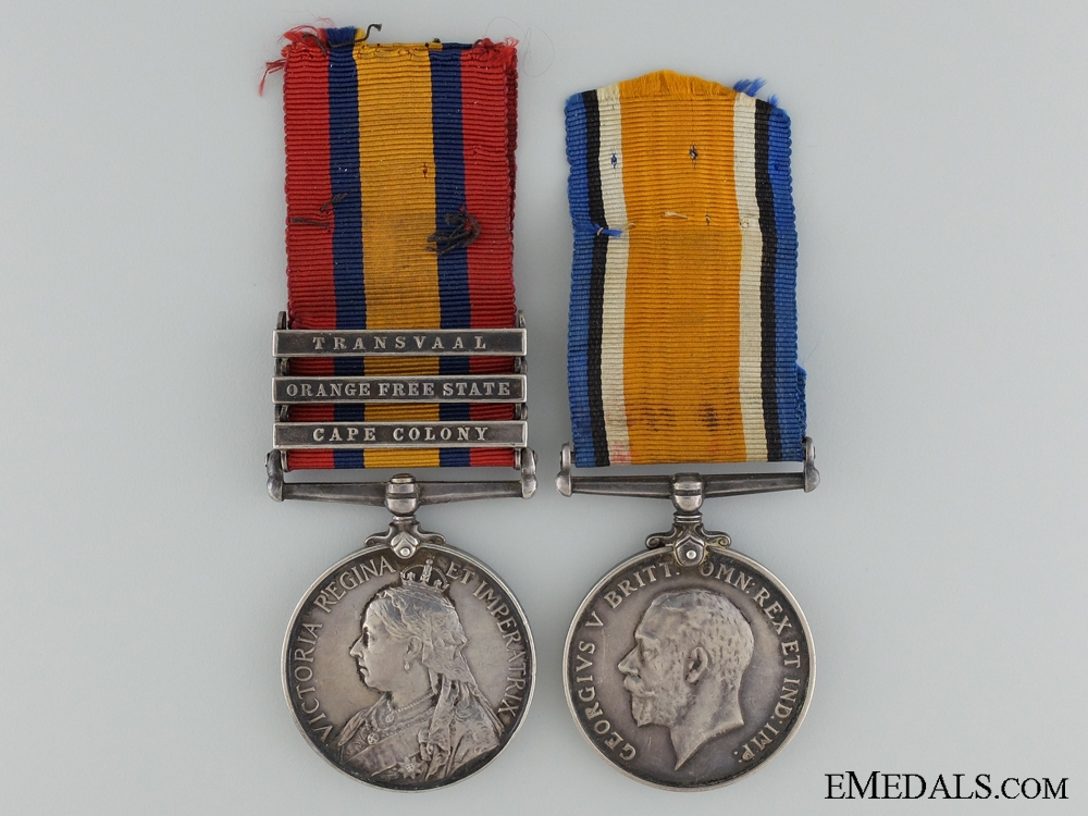 eMedals-A Boer War & WWI Pair to Private Ridgewell; 77th Battalion