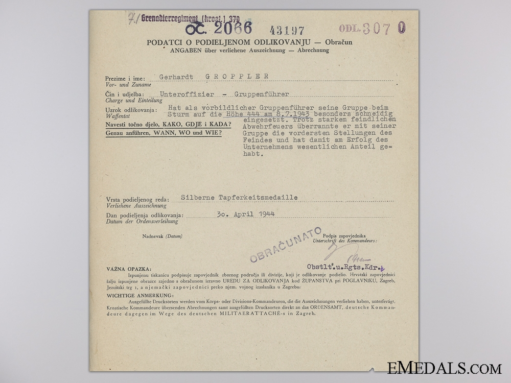 eMedals-A Bravery Award Citation to the 370th Croatian Grenadier Regiment