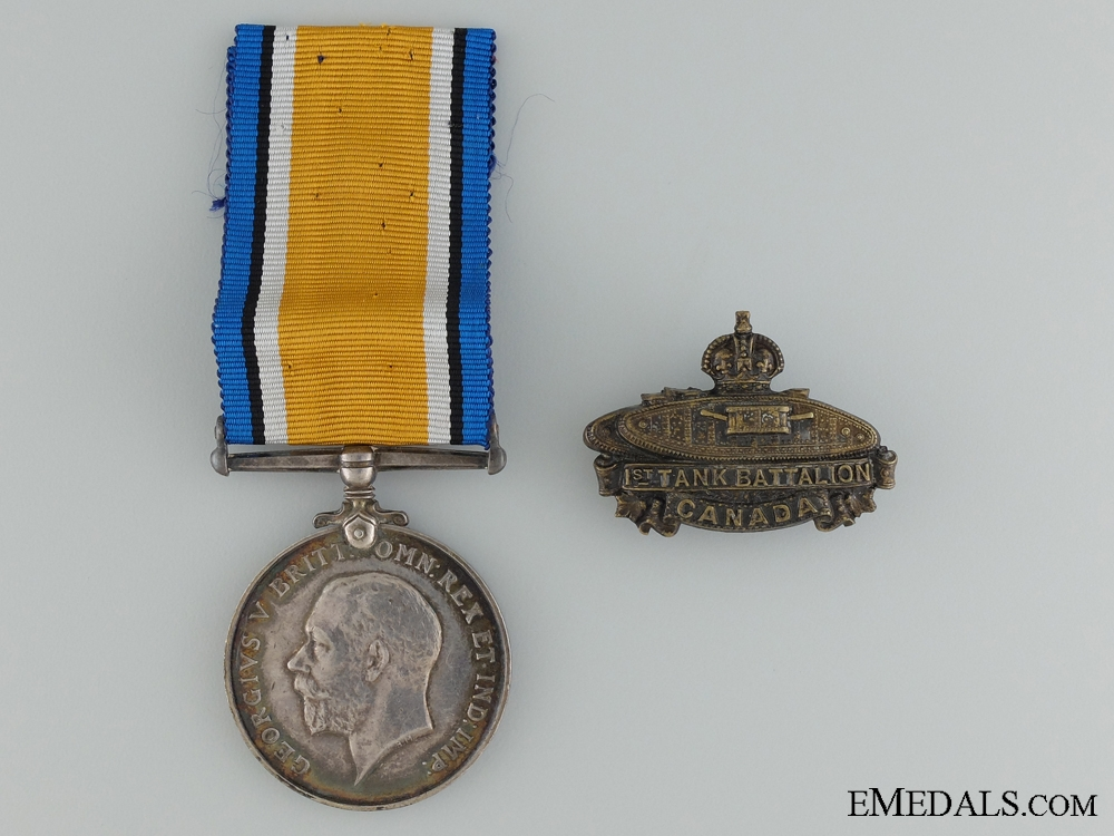 eMedals-A British War Medal & Badge to the Canadian Tank Corps