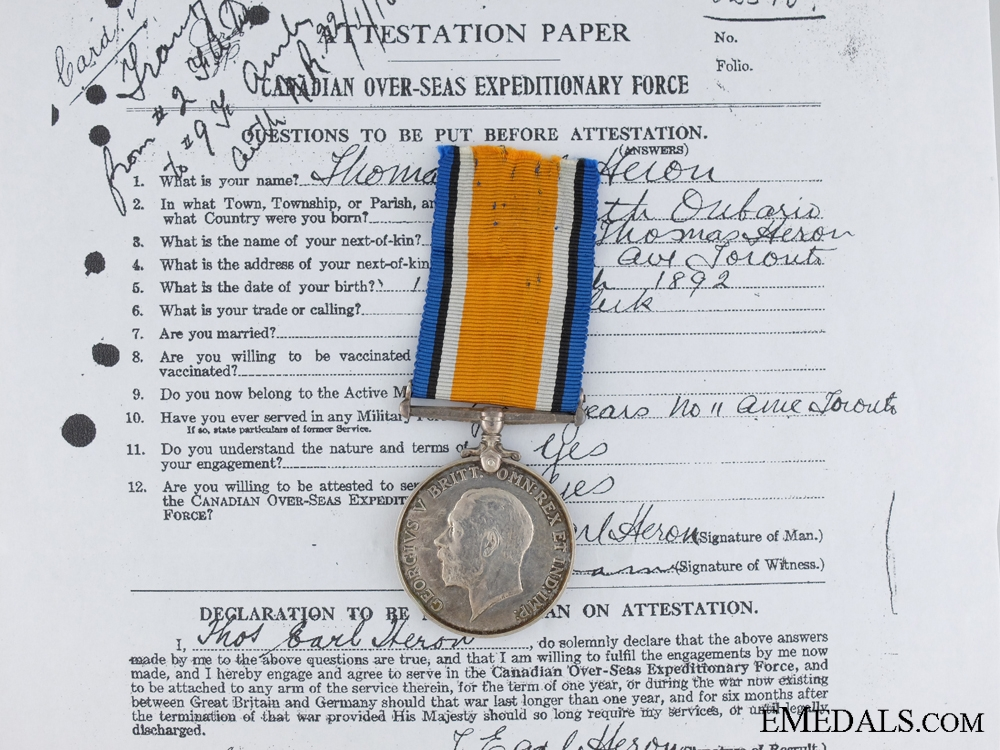 eMedals-A Canadian War Medal to Captain Heron; 9th Field Ambulance