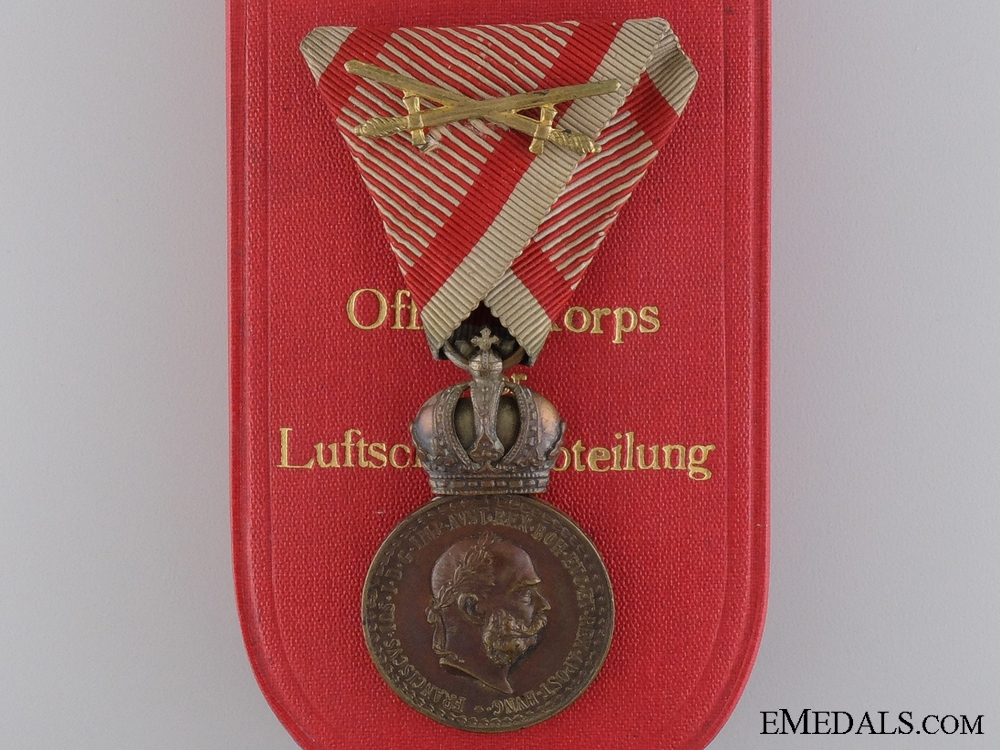 eMedals-A Cased Austrian Military Merit Medal by Rothe; Air Force Engraved