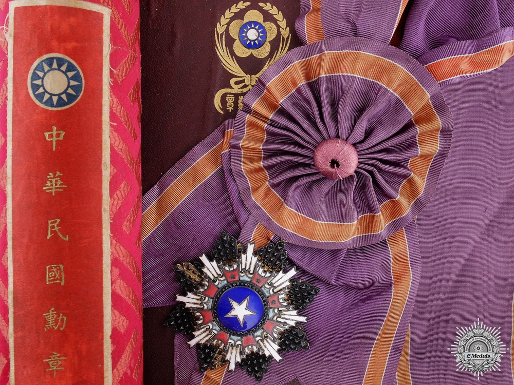 eMedals-A Chinese Order of the Brilliant Star; Grand Cross Badge with Document