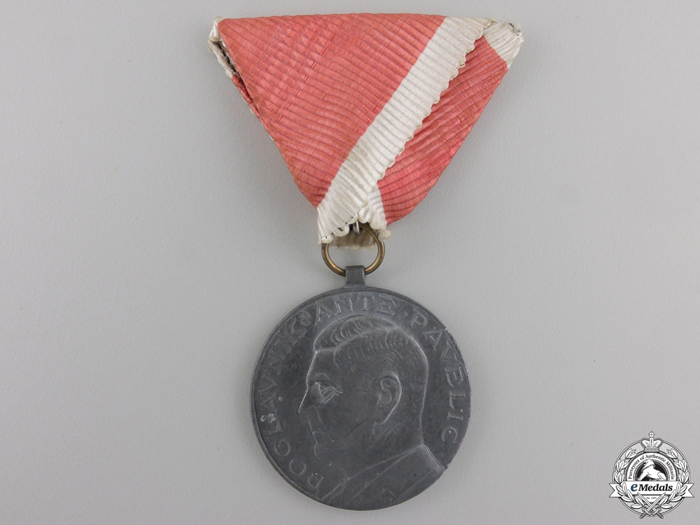 """eMedals-A Croatian  """"Ante Pavelic"""" Bravery Medal; Silver Grade"""