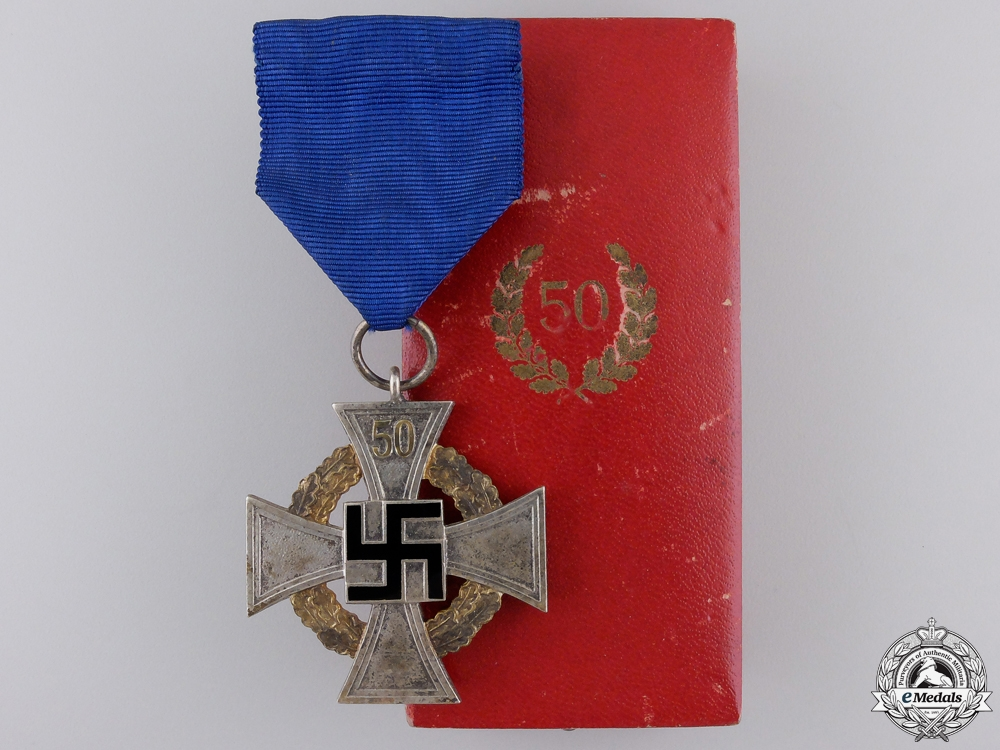 eMedals-A Faithful Service Decoration; Fifty Year with Case