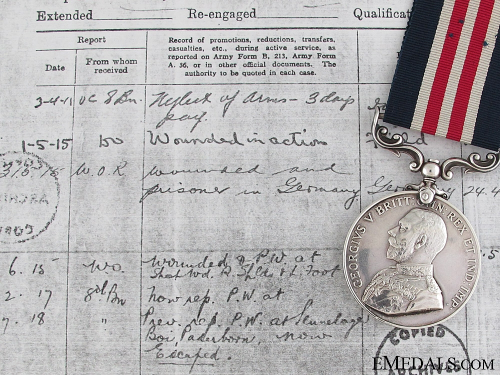 eMedals-A Fine M.M. Awarded for Escaping Germany Captivity