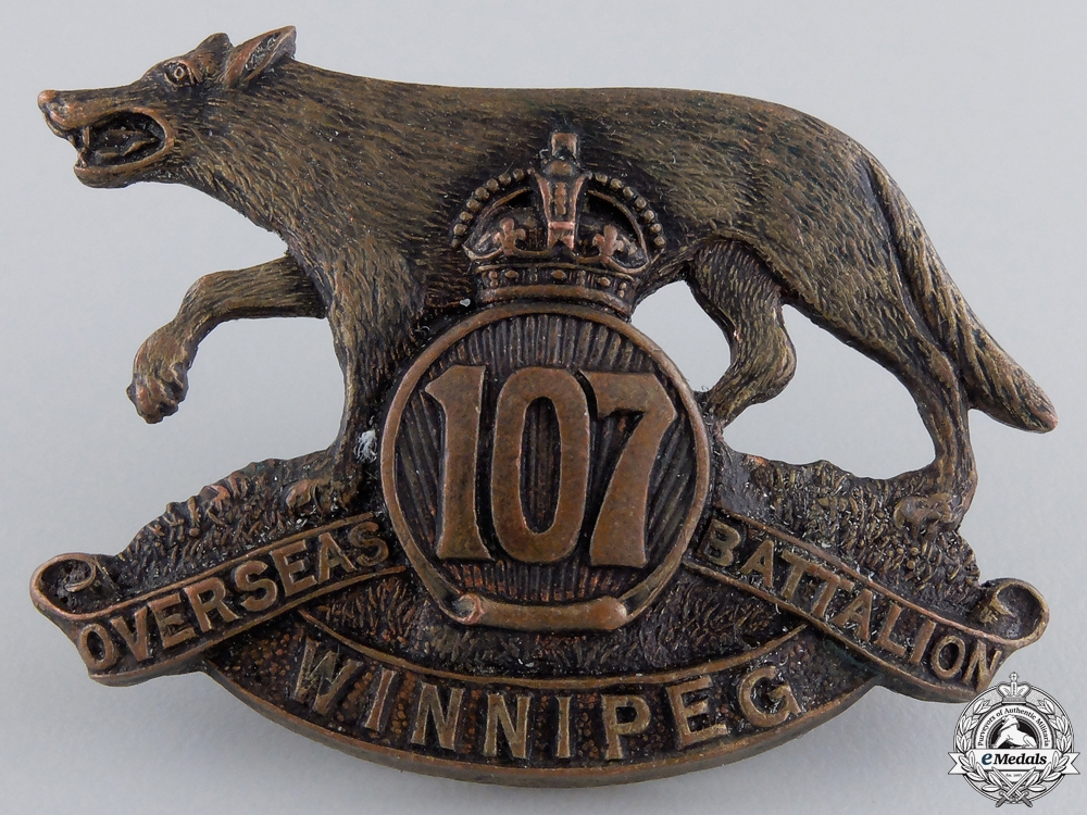 eMedals-A First War 107th Infantry Canadian Battalion Cap Badge
