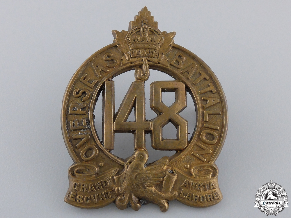 eMedals-A First War 148th Infantry Canadian Battalion Cap Badge