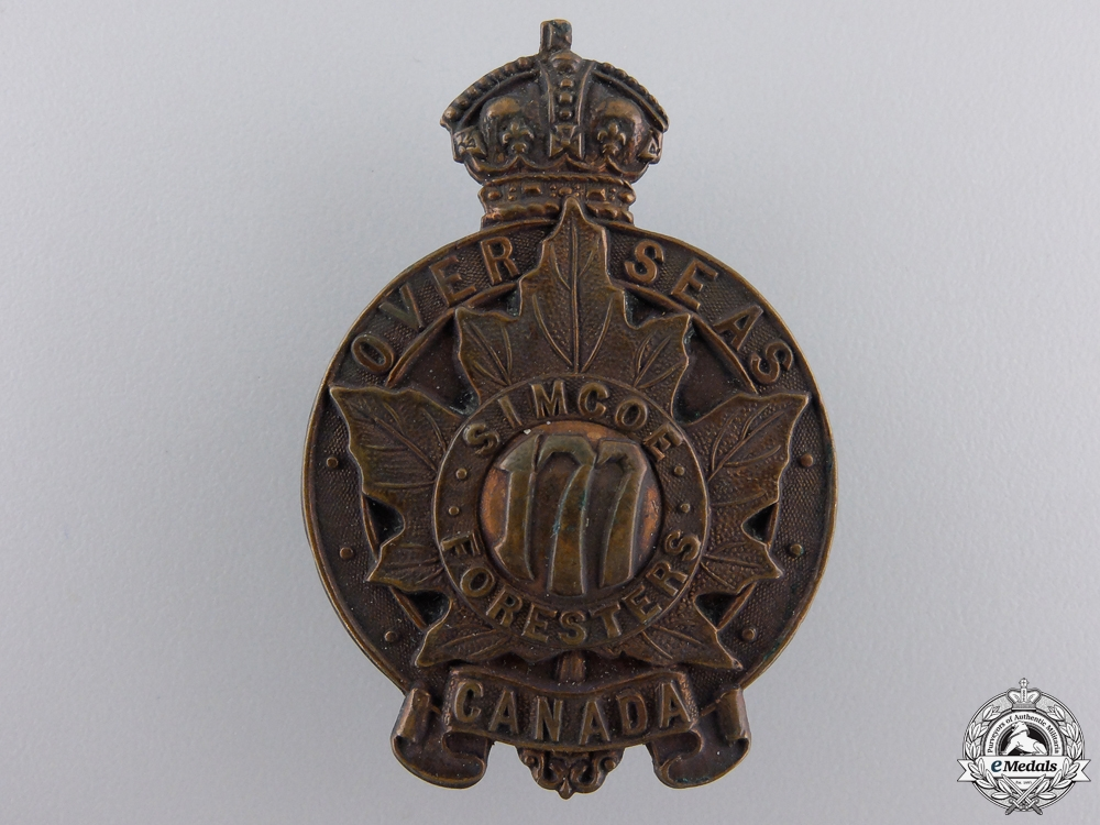 eMedals-A First War 177th Simcoe Foresters Cap Badge CEF
