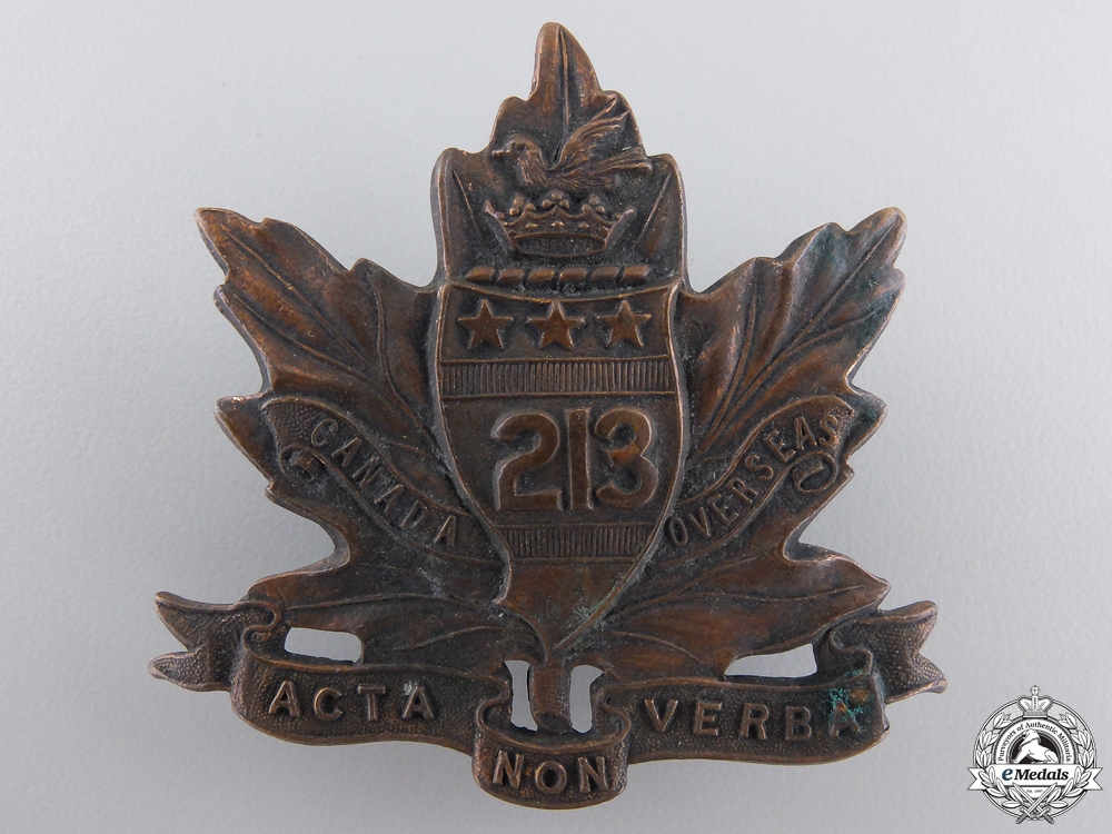 eMedals-A First War 213th Infantry Battalion Collar Badge CEF