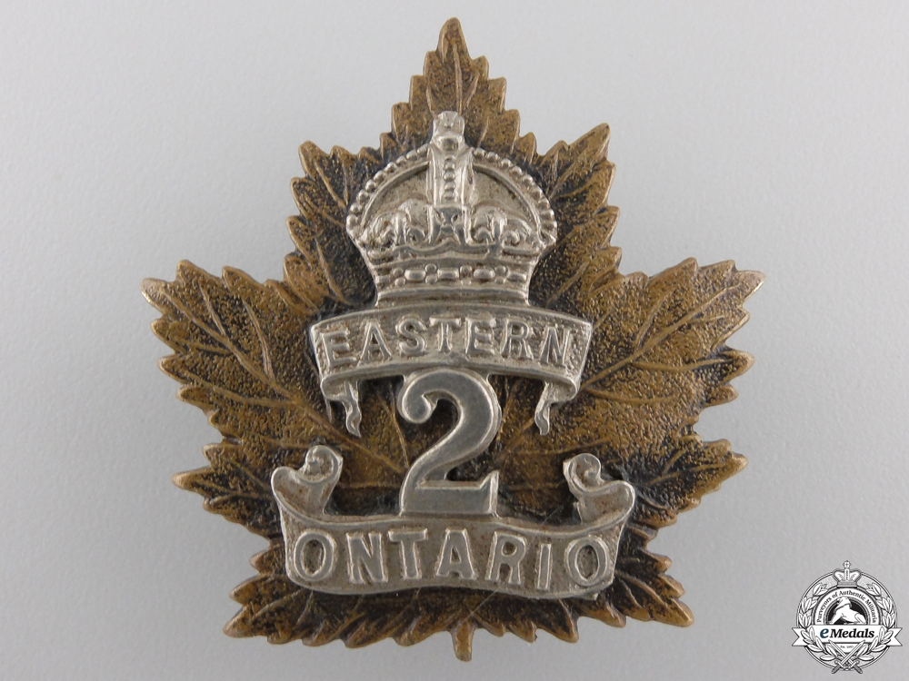 "eMedals-A First War 2nd Battalion ""Eastern Ontario Regiment"" Cap Badge"