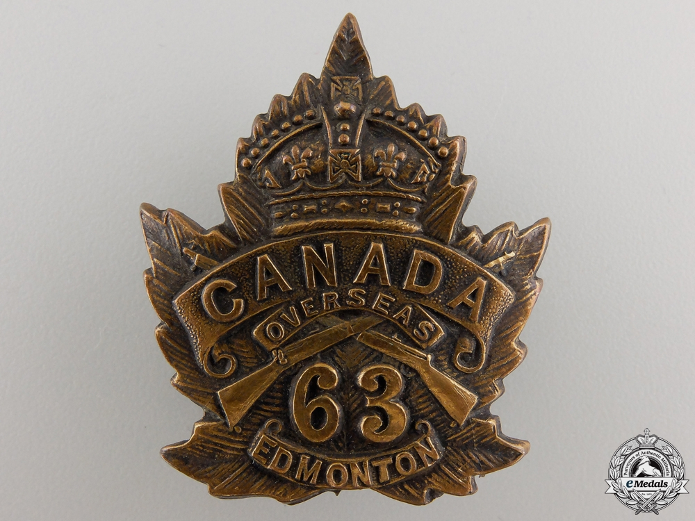 eMedals-A First War 63rd Canadian Battalion Cap Badge