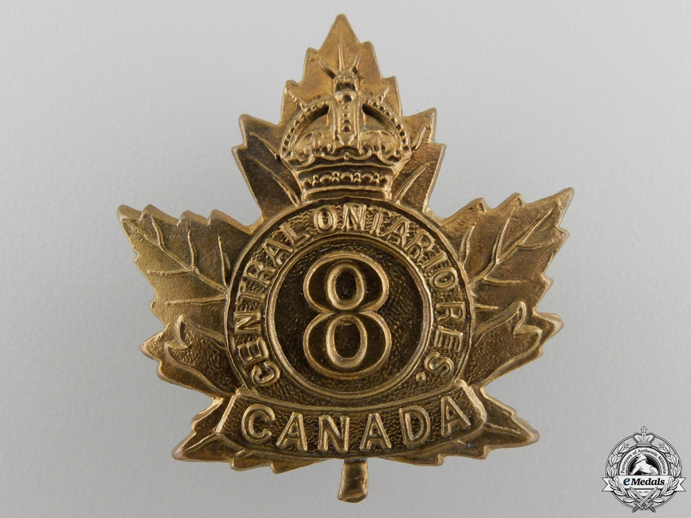 """eMedals-A First War 8th Battalion """"Central Ontario Reserve"""" Cap Badge"""