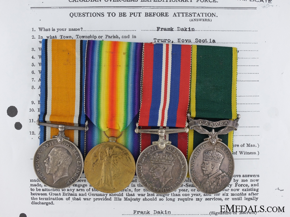 eMedals-A First War & Efficiency Group to the Canadian Machine Gun Corps