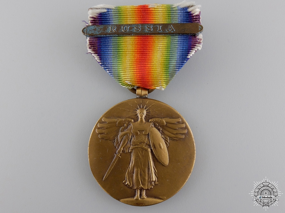 eMedals-A First War American Victory Medal with Russia Bar