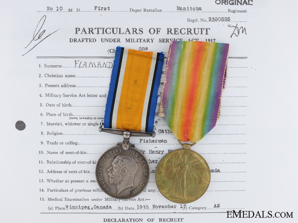 eMedals-A First War Canadian Pair to the 44th Infantry Battalion CEF