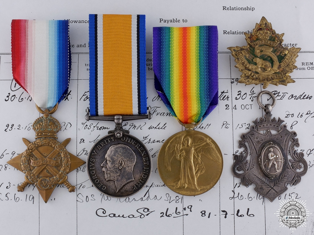 eMedals-A First War Canadian Group to the 5th Mounted Rifles