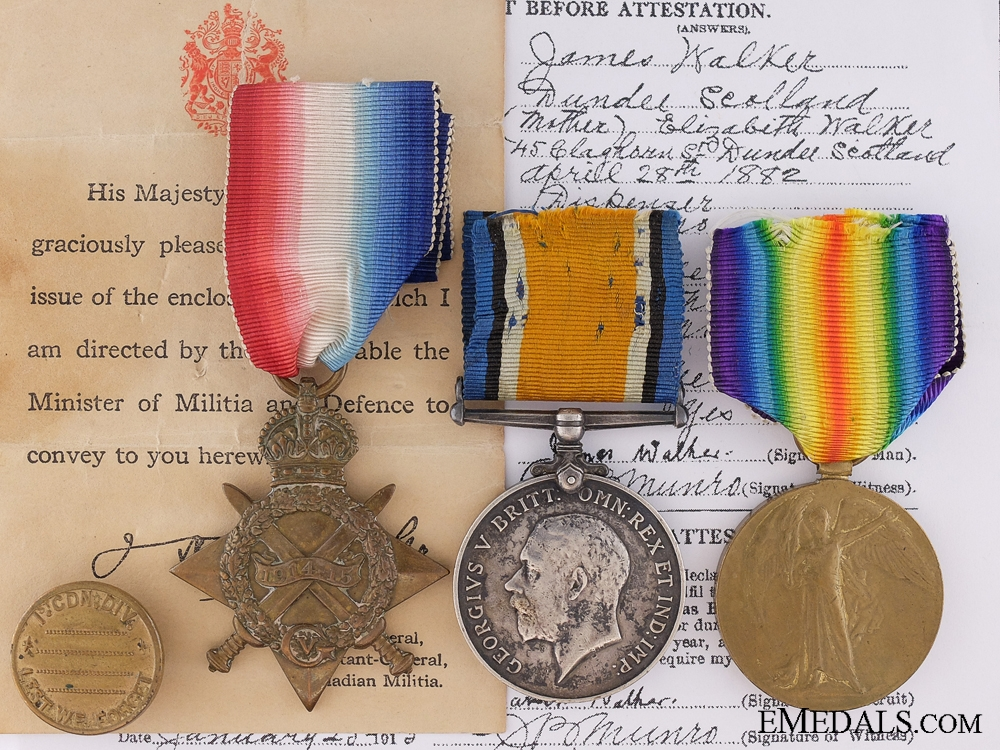 eMedals-A First War Group to the First Canadian Infantry