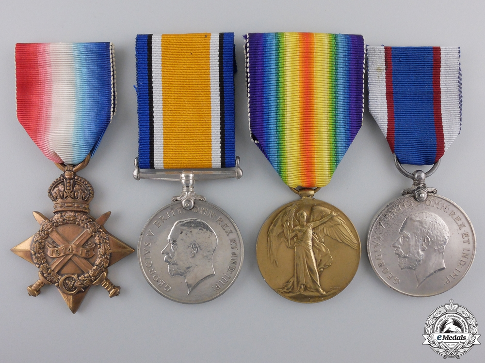 eMedals-A First War Long Service Group of Four to Signal Boy Newton