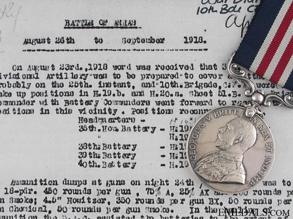 eMedals-A First War M.M. Awarded to Canadian Field Artillery