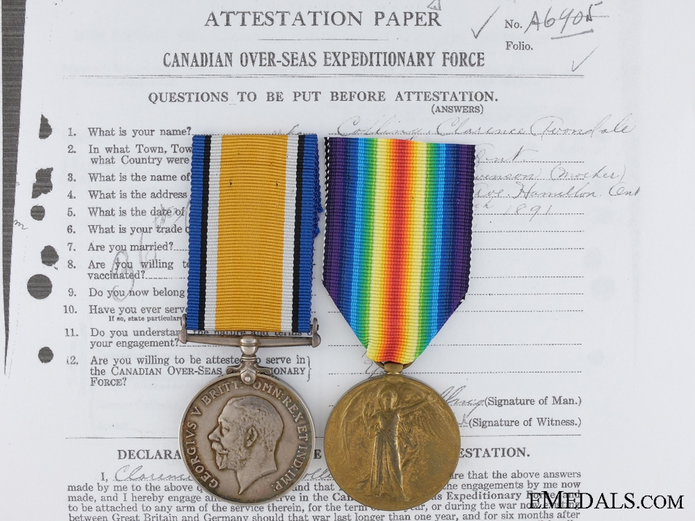 eMedals-A First War Medal Pair to the 5th Canadian Mounted Rifles KIA