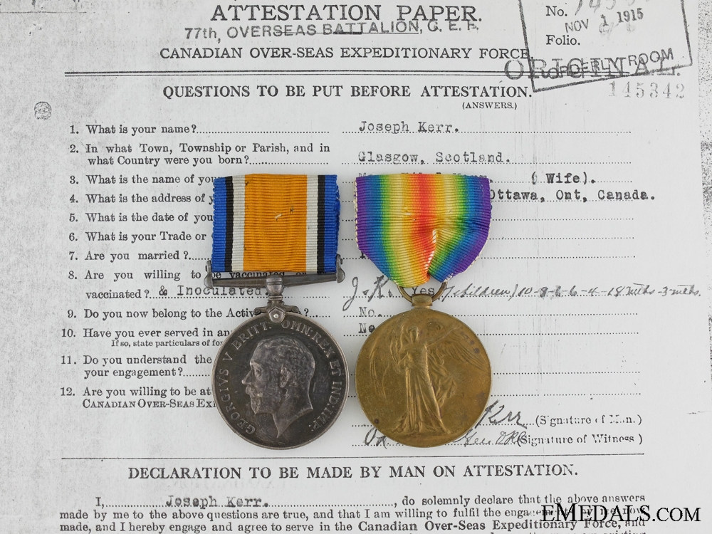 eMedals-A First War Medal Pair to the 50th Canadian Infantry CEF