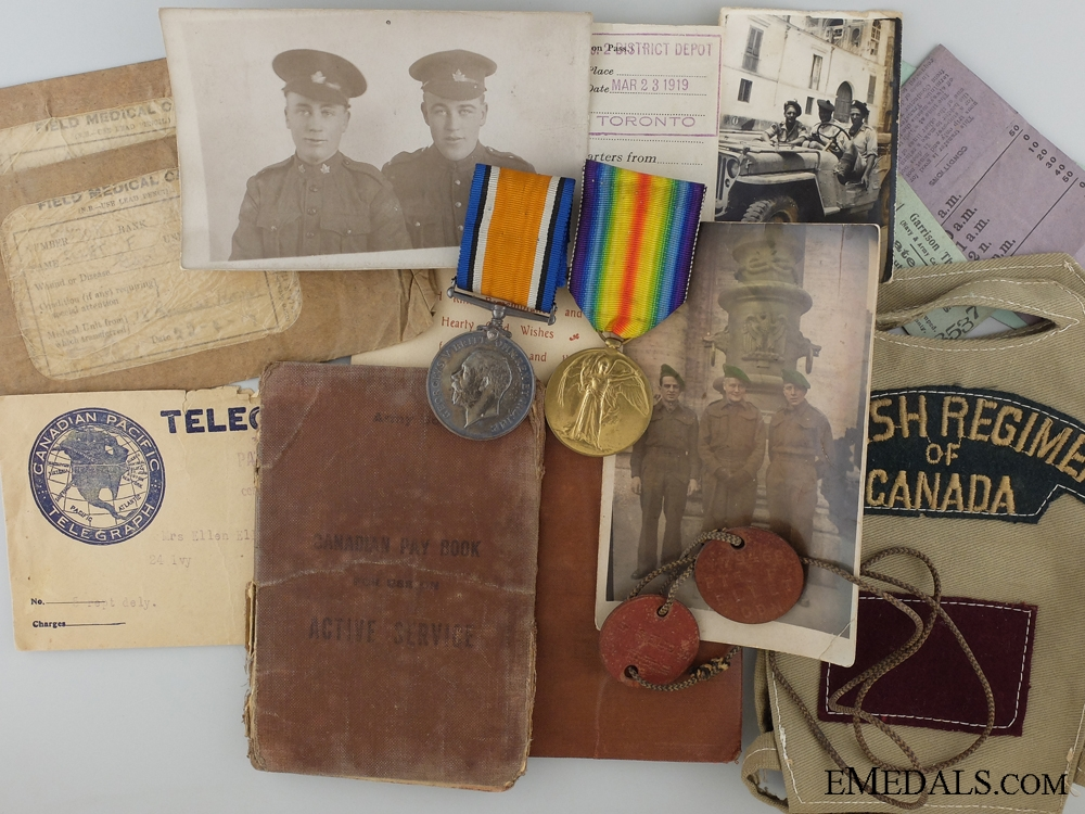 eMedals-A First War Medal Pair & Photos to the 58th Canadian Infantry