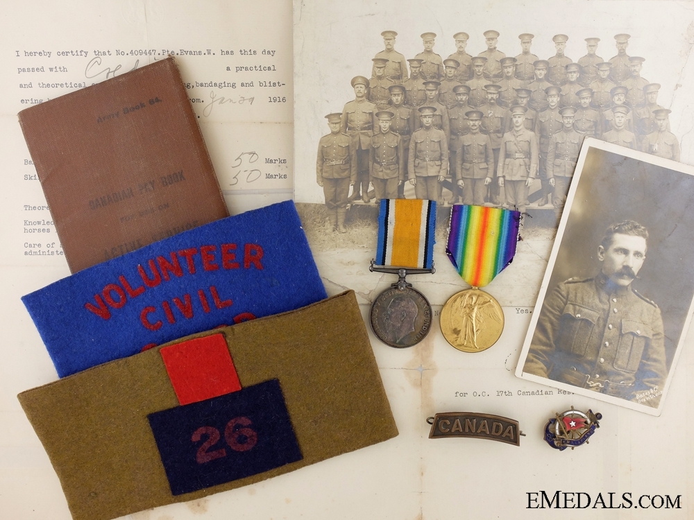 eMedals-A First War Medal & Document Group to the 26th Canadian Infantry