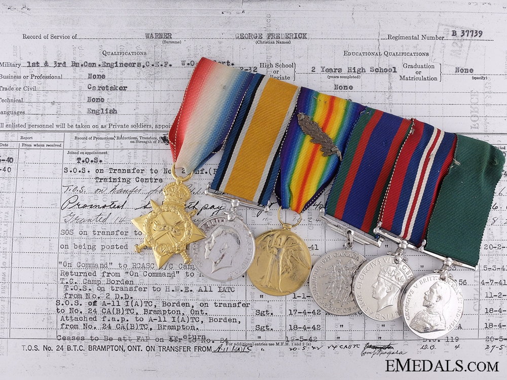 eMedals-A First War Medal bar to the 1st Canadian Inf.; Wounded 3 Times