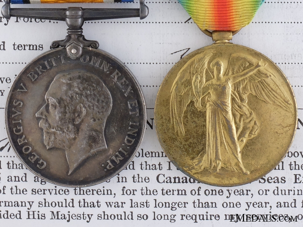 eMedals-A First War Medal Pair to the 4th Battalion Canadian Railway Troops