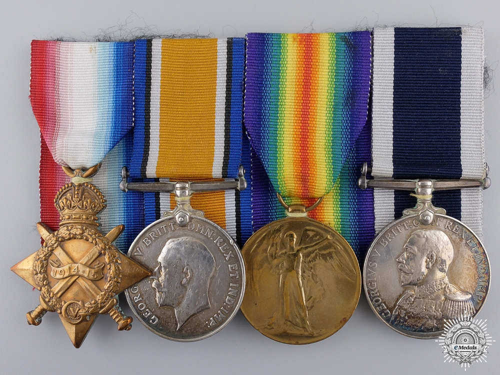 eMedals-A First War Royal Navy Long Service Group to  H.M.S. Roxburgh