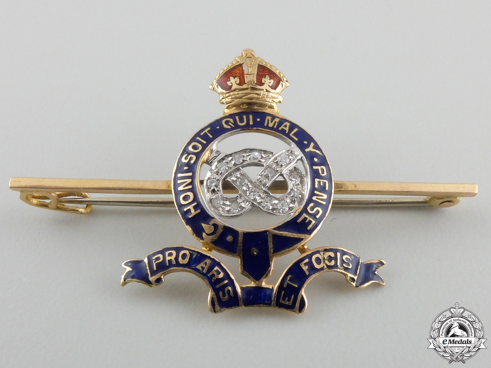 eMedals-A First War Staffordshire Yeomanry Pin in Gold & Diamonds