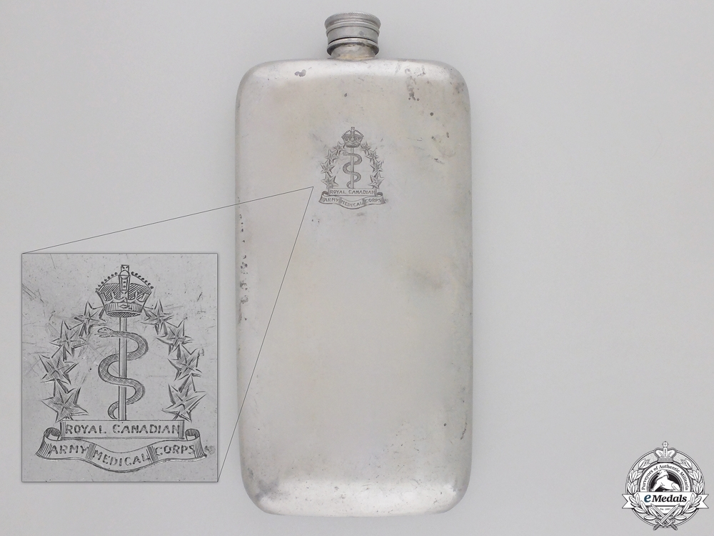 eMedals-A Flask Named to Nursing Sister E.Ross; Royal Canadian Army Medical CorpsConsign #4