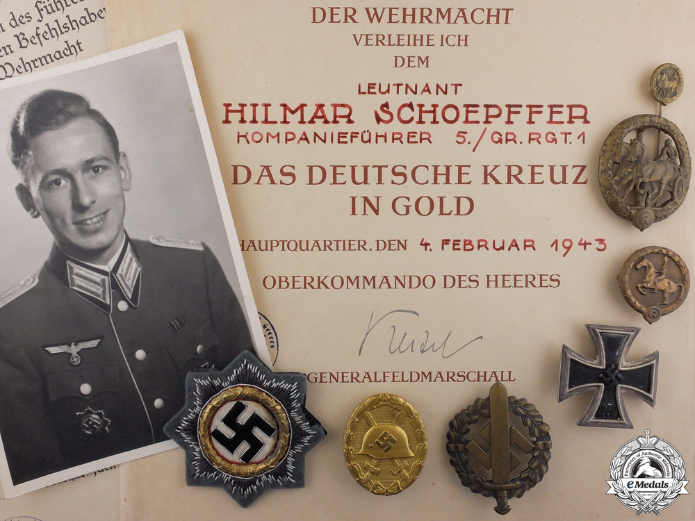eMedals-A German Cross in Gold Grouping to Kompanieführer 5./Gr.Rgt.1