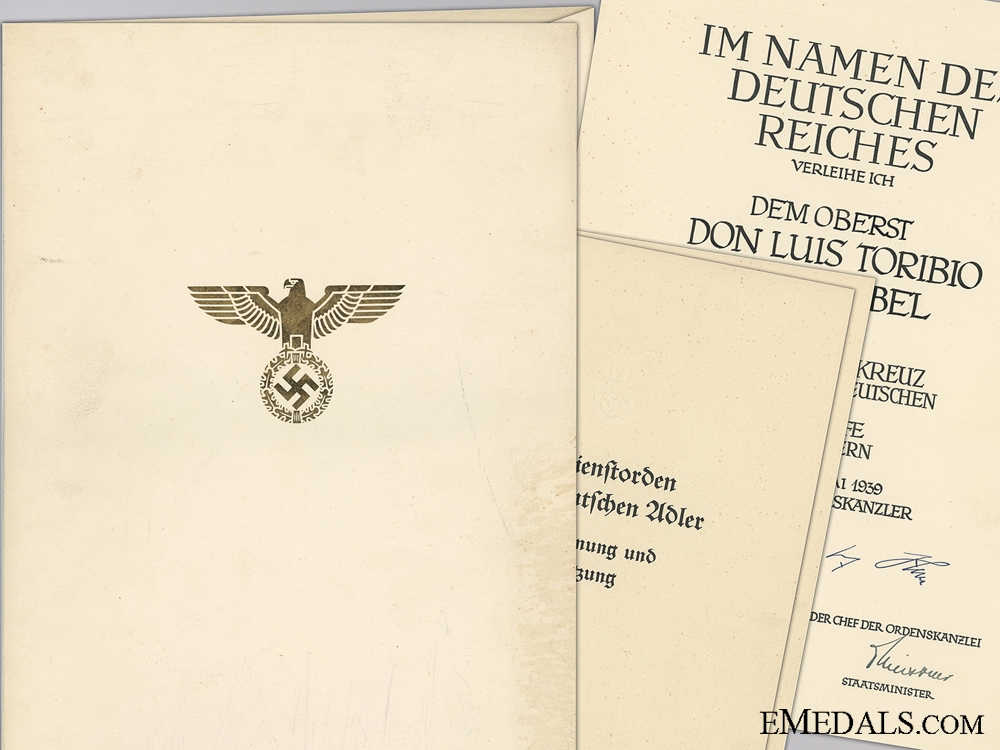 eMedals-A German Eagle Order 1st Class Document to Spanish Air Force