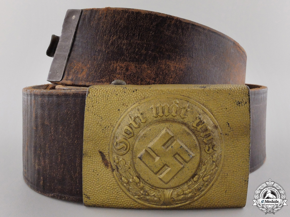 eMedals-A German Water Protection Police NCO's Belt with Buckle; 1936 Pattern