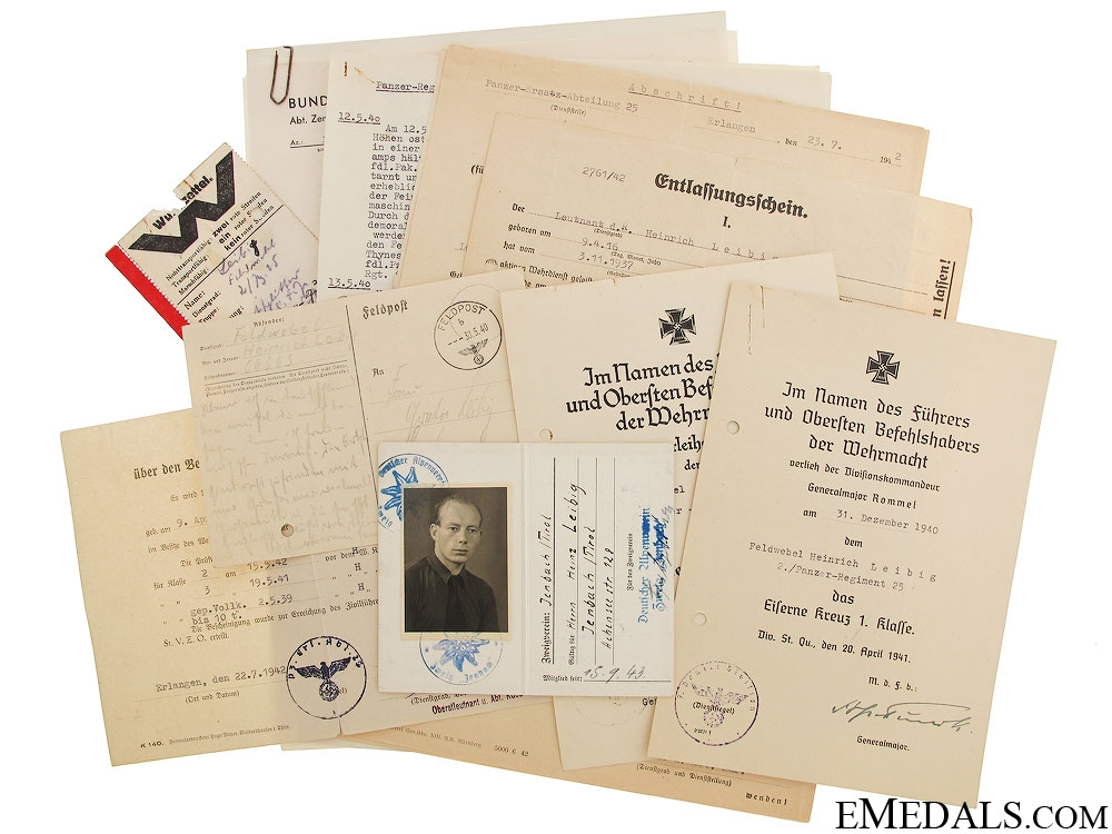 eMedals-A Group of Rommel Signed Afrikakorps Documents