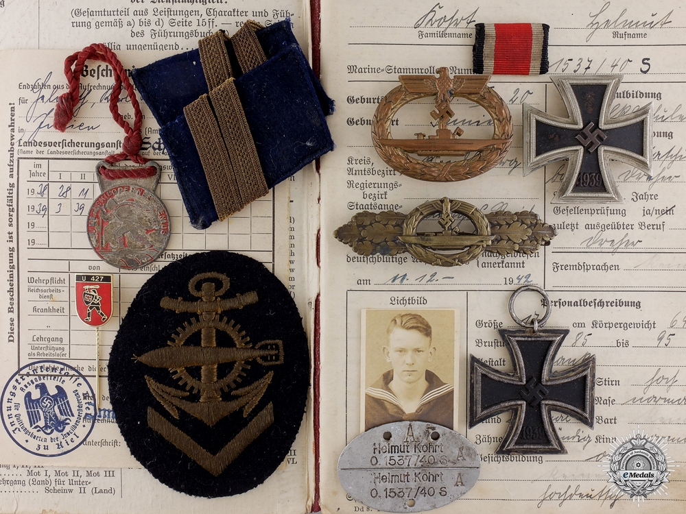 eMedals-A Kriegsmarine Group to U-427; Survived 678 Depth Charge Attacks